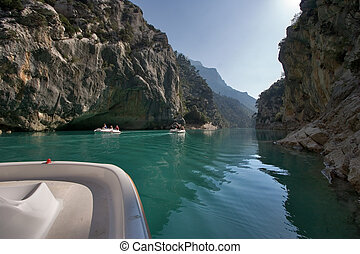 Pleasant walk on a water bicycle - The river Verdon on the...