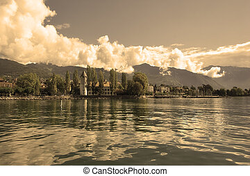 Shone air - A panorama of coast of lake Leman in Switzerland...