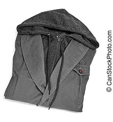 hooded suit jacket - a folded hooded suit jacket on a white...