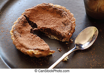 Chocolate tart - Delicious fresh baked chocolate tart broken...