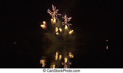 firework 43 - fireworks display on water with sound