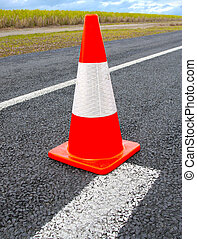 Traffic Cones or witches hat on the road