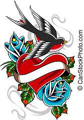 hirondelle, rose, coeur, tatouage