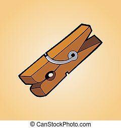 Clothes peg - One clothespin of wood on clear orange...