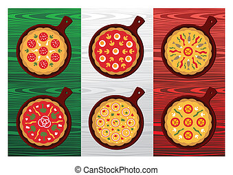 Italian pizza flavors - Different Pizza flavors over wooden...