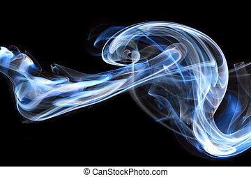 Blue smoke in black background