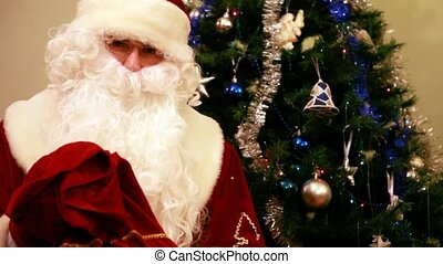 Santa Claus with presents and New Year tree at home