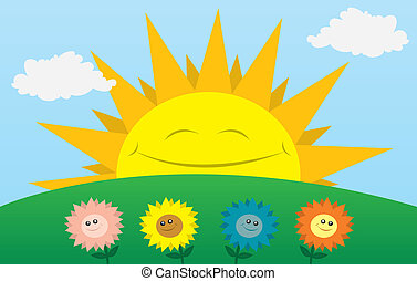 Happy Sun with Flowers - Large sun smiling with flowers in...