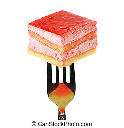 strawberry flavored layer cake on a fork