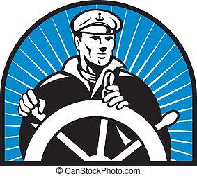 navio, capitão, Helmsman, guiando, roda