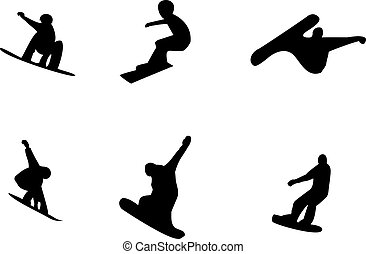 Snowboard - Vector silhouettes of snowboarders on a white...