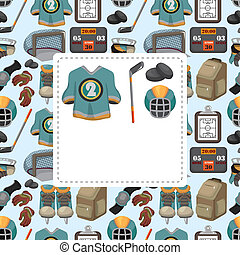 cartoon ice hockey sport seamless pattern