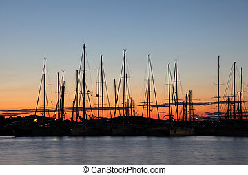 Marina at the Sunset, Croatian town Murter