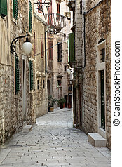 Narrow street in the old town of Sibenik, Croatia