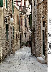 Narrow street in the old town of Sibenik, Croatia