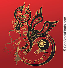 Chinese horoscope. Year of dragon - Illustration of a dragon...
