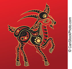 Chinese horoscope Year of goat - Illustration of a goat in...