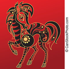 Chinese horoscope Year of horse - Illustration of a horse in...
