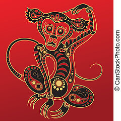 Chinese horoscope. Year of monkey - Illustration of a monkey...