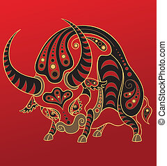 Chinese horoscope. Year of ox - Illustration of a ox in...