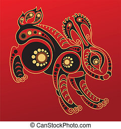 Chinese horoscope Year of rabbit - Illustration of a rabbit...