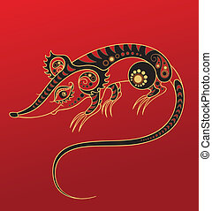 Chinese horoscope. Year of rat - Illustration of a rat in...