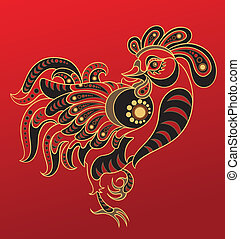 Chinese horoscope Year of rooster - Illustration of a...