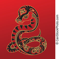 Chinese horoscope Year of snake - Illustration of a snake in...