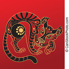 Chinese horoscope Year of tiger - Illustration of a tiger in...