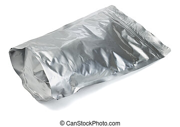 Sealed aluminum foil bag containing cereal on white...