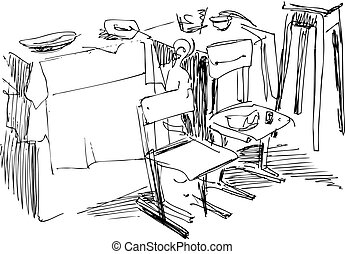 chairs - chairs before a table