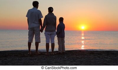 Parents and son standing on beach holding hands