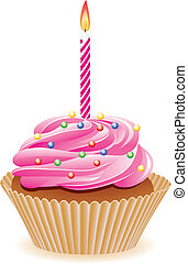 cupcake with burning candle - vector chocolate cupcake with...