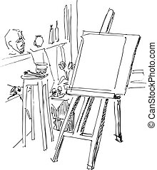 lass on painting - an easel is prepared to work