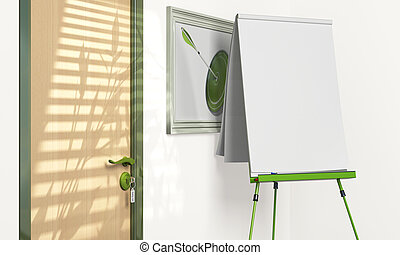 blank flipchart inside a meeting room with copy space -...