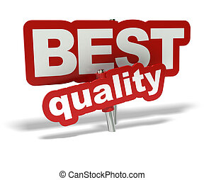 Red Best quality tag over a hite background - decorative element