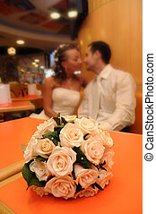 young husband and wife in a restaurant at the ceremony the...