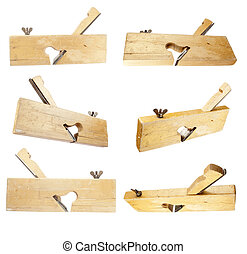 wood plane collection with white background