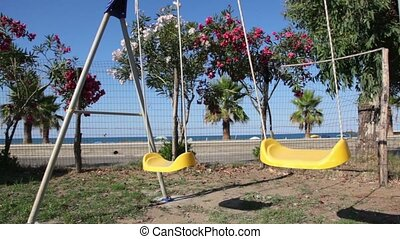Empty seats swings sway on the background of the beach