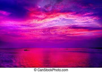 Sunset over lake - Spectacular Asian sunset over lake in...