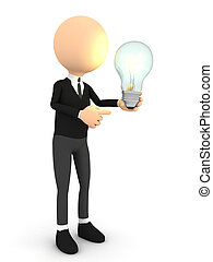3d person with bulb over white