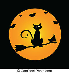 Cat on Witches Broom - Halloween cat on witches broom