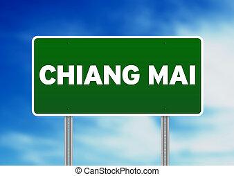 Green Road Sign - Chiang Mai, Thailand - Green Chiang Mai,...