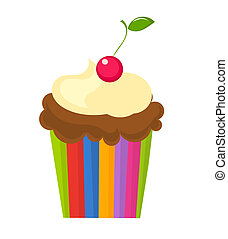 Cupcake with cherry - Chocolate cupcake with cream and...