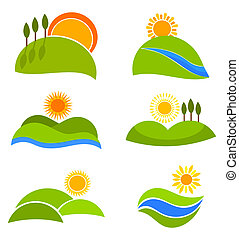 Landscapes icons - Landscape nature icons with suns and...