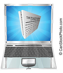 Newspaper laptop concept