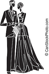 Bridal couple - Silhouette of wedding couple
