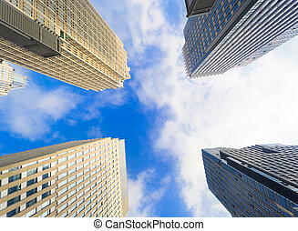 Buildings pointing towards the sky - Financial buildings of...