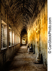 Ancient corridor inside ruins of temple in Cambodia