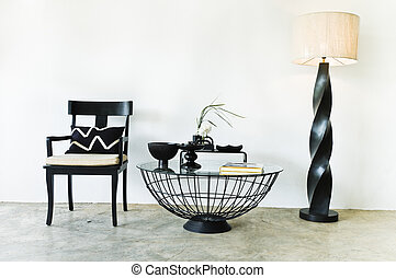 Contemporary seating combination in black with elegant...
